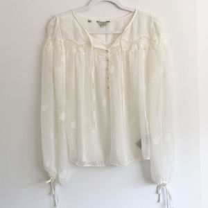 Guess Sheer Blouse with Lace Accents